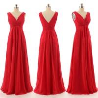 Beautiful Long Bridesmaid Dresses, Red Chiffon Bridesmaid ...