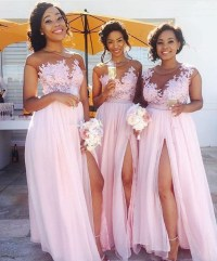 Lace Appliqued Sexy Mismatched Bridesmaid Dresses,Pink ...