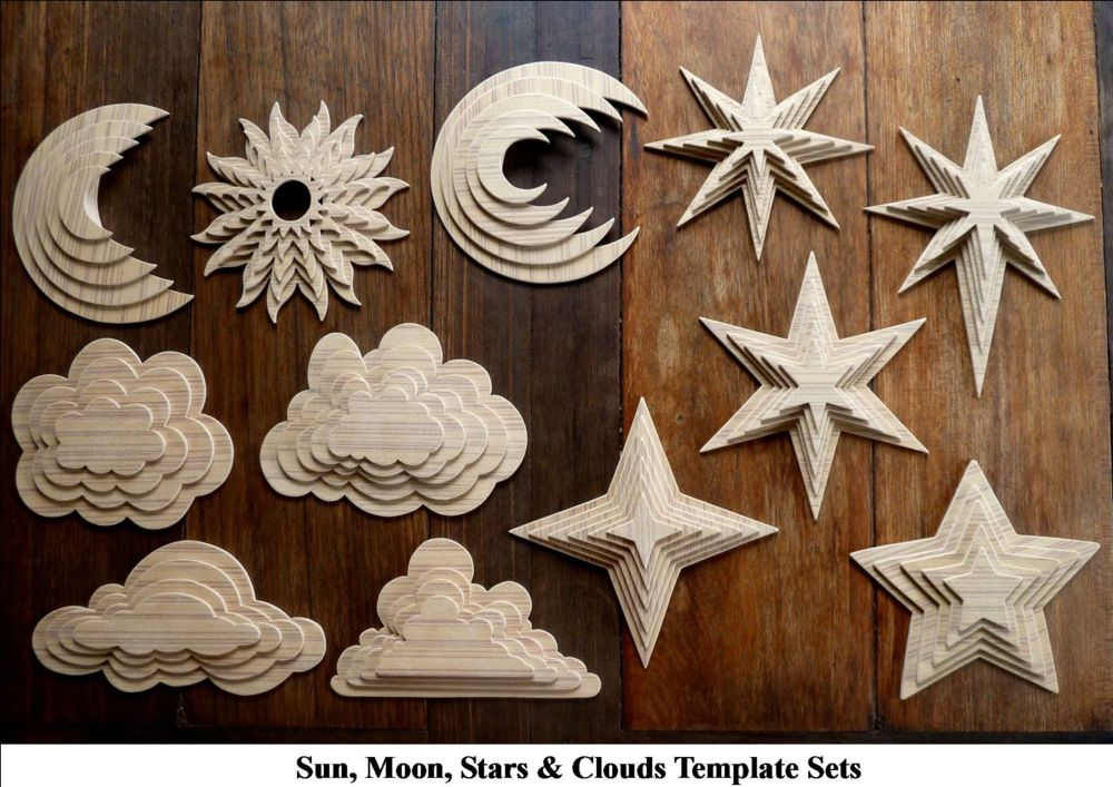 Sun, Moon, Stars  Clouds - 12 Full Size Scroll Saw Patterns Plus A Free  MDF Drawing Template!