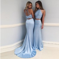 Two Piece Prom Dress Light Blue, Beaded Halter Mermaid ...