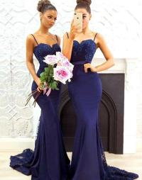 Gorgeous Straps Navy Blue Mermaid Long Prom Dress ...