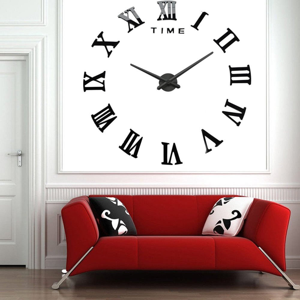 Online Analog Clock Classic Roman Numeral 3d Diy Large Number Analog Wall Clock From Belladonna Home Decor