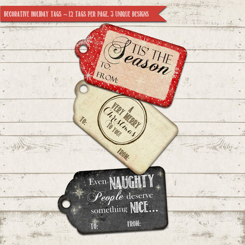 Valerie Pullam Designs Christmas Gift Tags- Chalkboard, Vintage