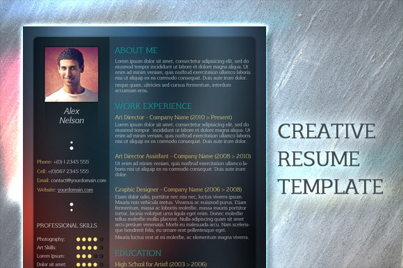 psd creative resume template