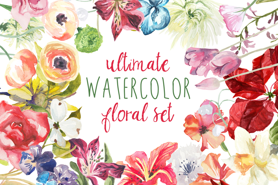 Peony Love Quote Wallpaper Ultimate Watercolor Floral Set Illustrations On Creative