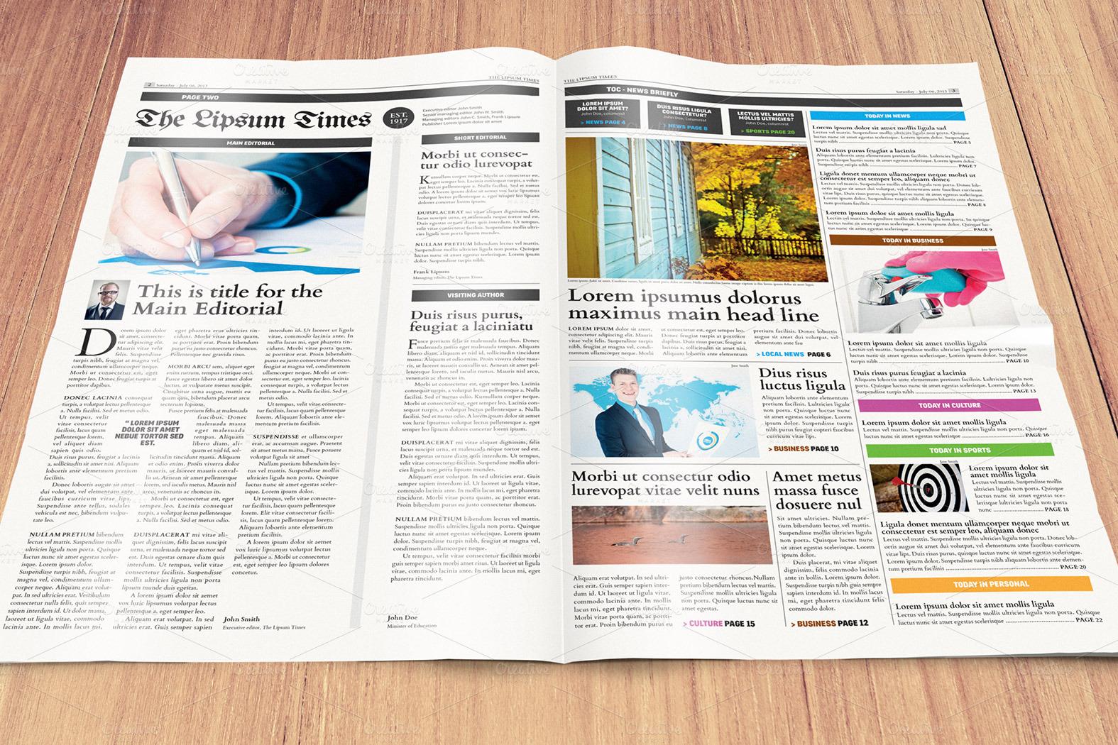 Newspaper Template Compact Tabloid Magazine Templates