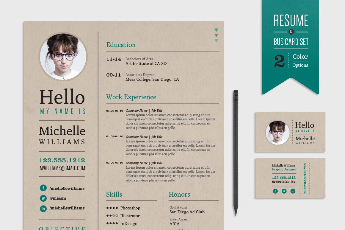 creative market resume set template