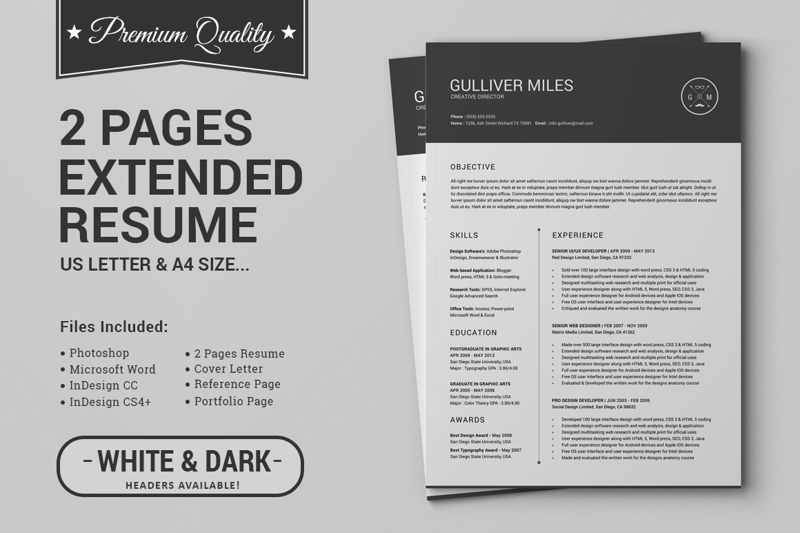 two page resume template download