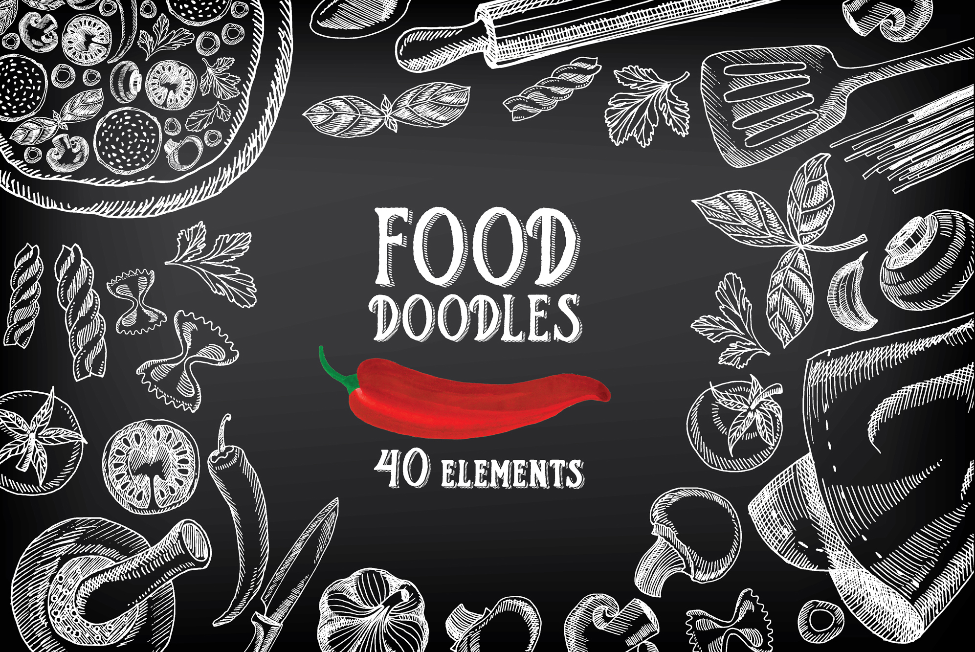 Barcelona Logo 3d Wallpaper Food Doodles 40 Elements Illustrations On Creative Market