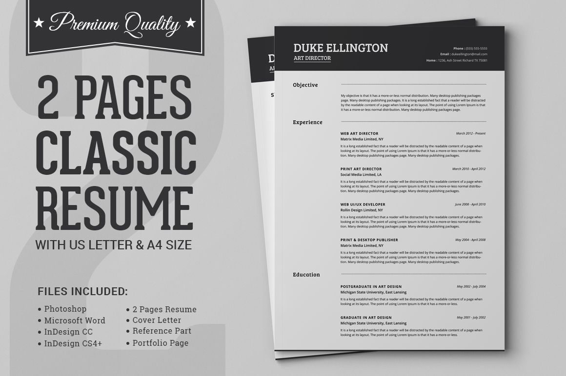resume reference page layout