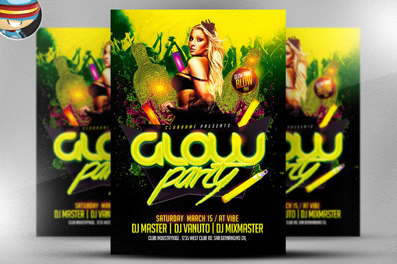 Iphone Wallpaper Psd Template Neon Party Flyer Ideas