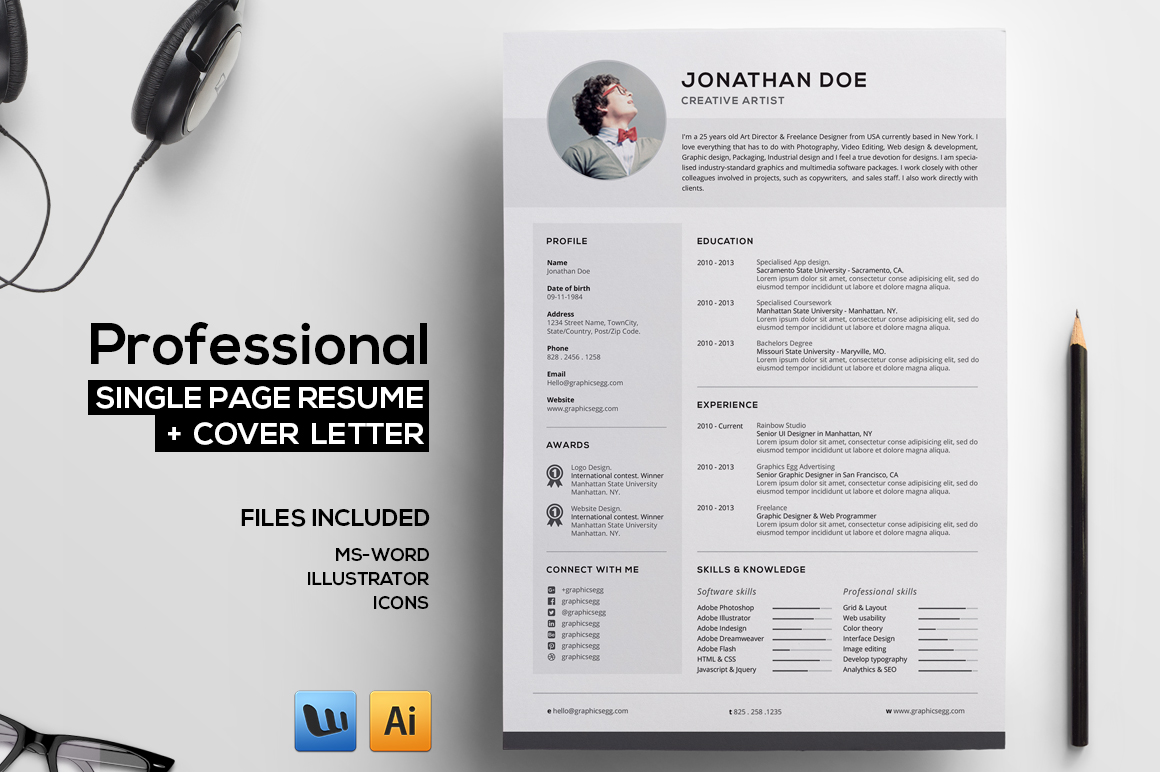 single page html template for web resume
