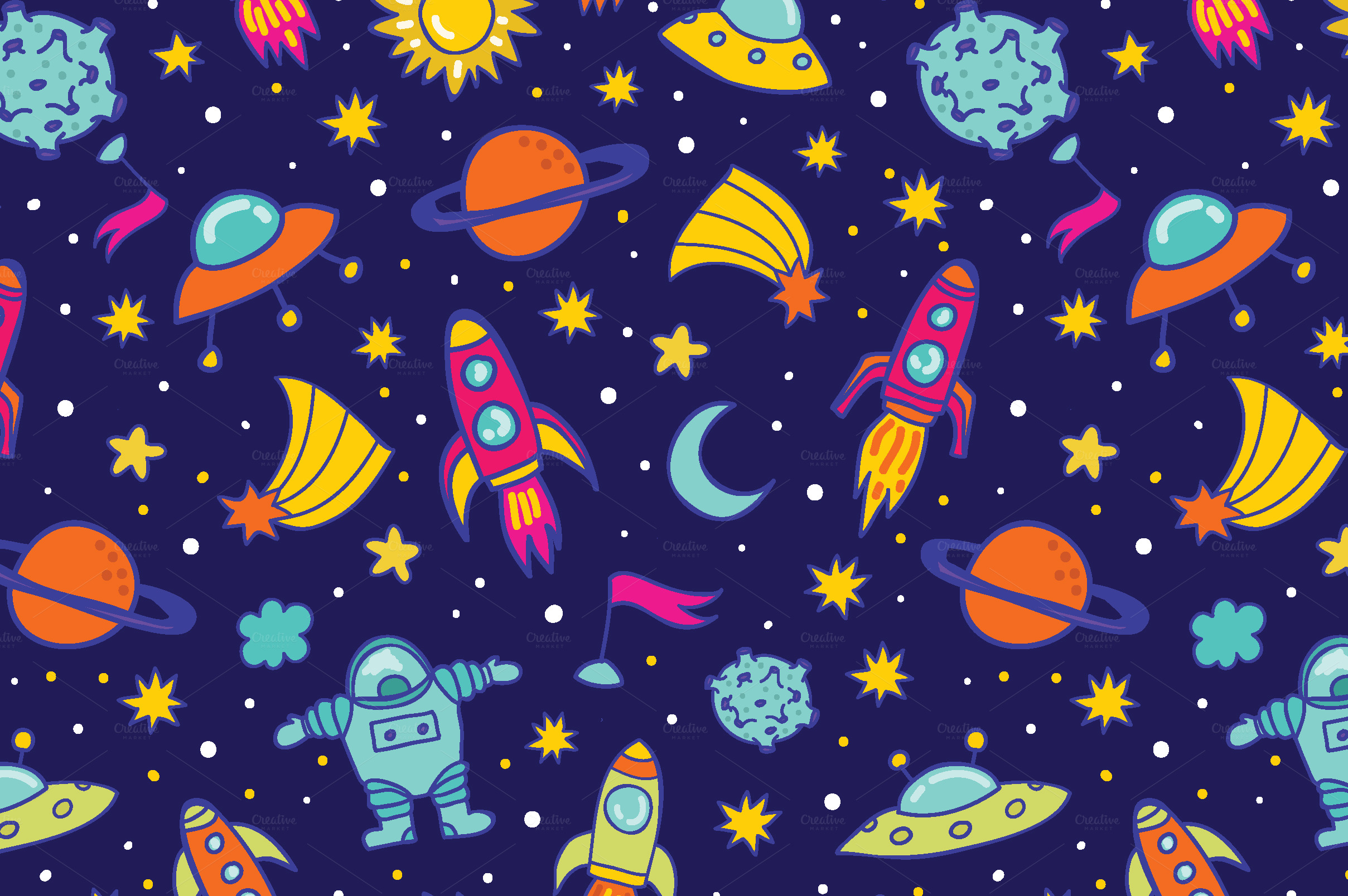Cute Wedding Cartoon Wallpaper Space Pattern Patterns On Creative Market