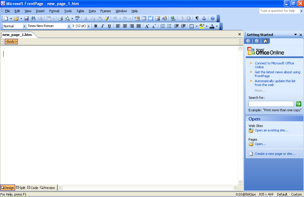 microsoft office front pages