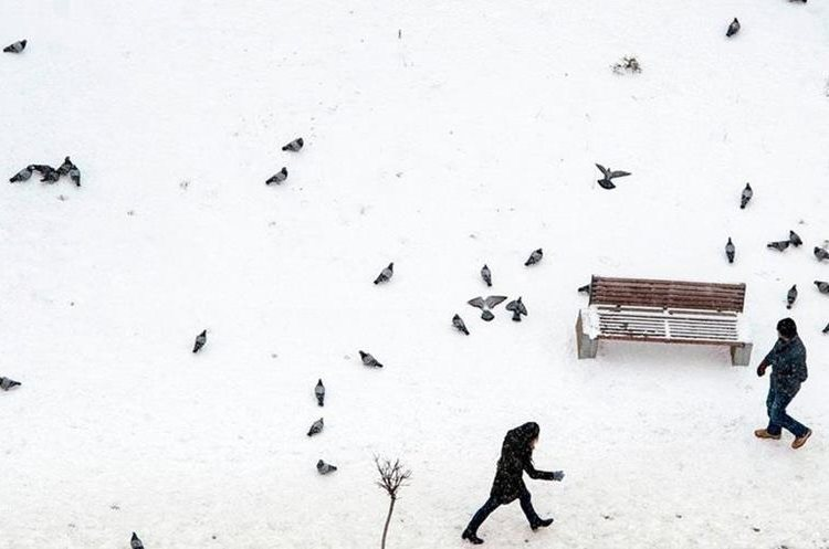 En estos días, la nieve cubrió calles a lo largo de Europa, como esta de Pristina, capital de Kosovo. AFP