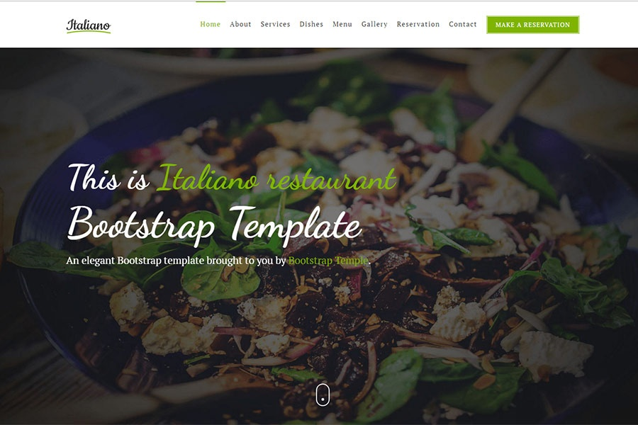 Italiano - Free Bootstrap restaurant template - Elegant, classy and
