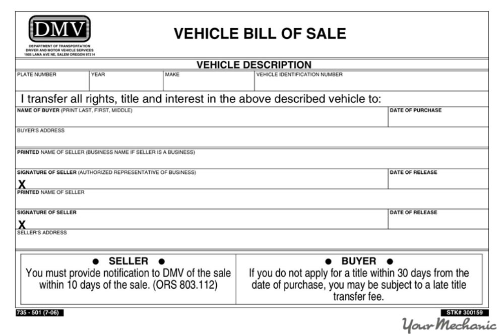 How to Transfer the Title of a Car YourMechanic Advice - bill of sale for car