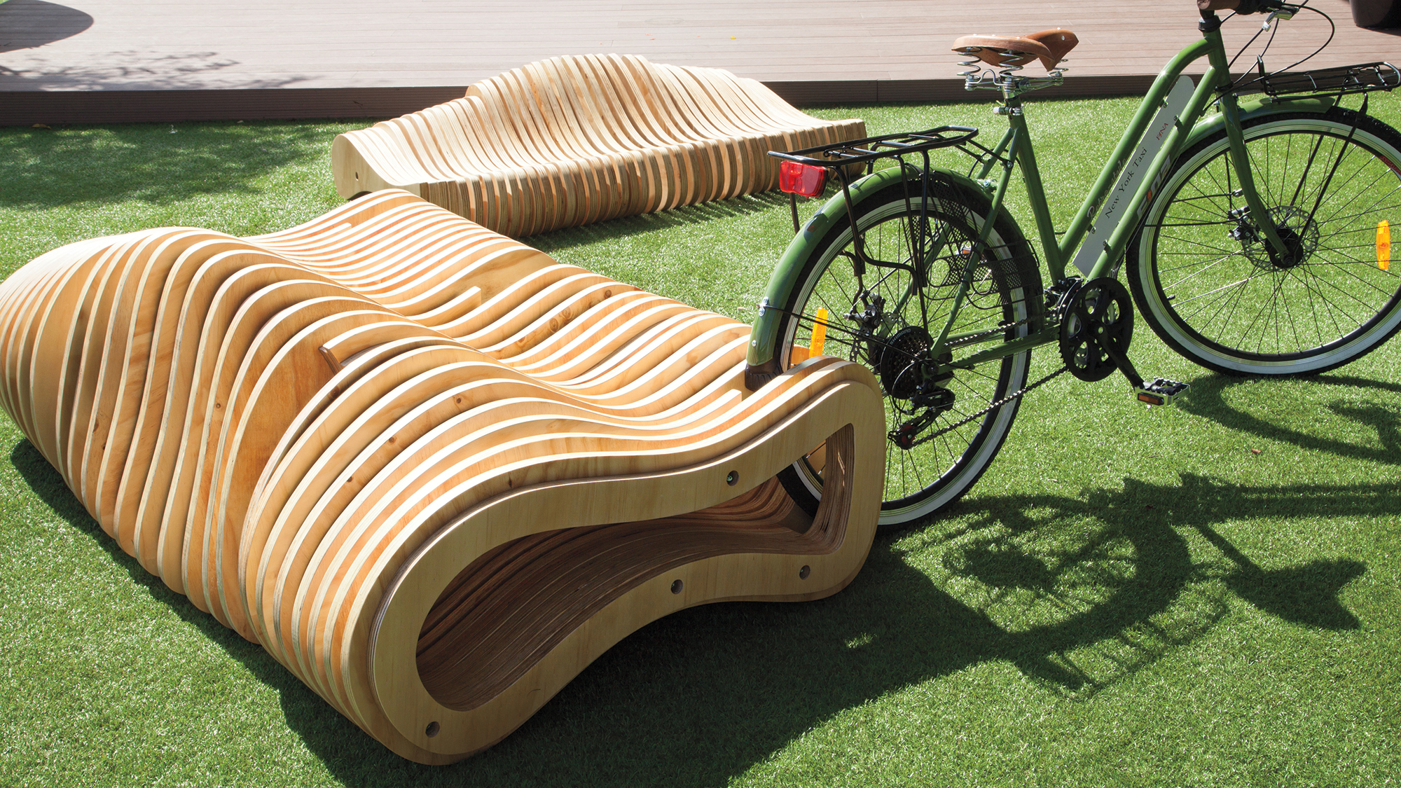 Cnc Milled Plywood Forms Dual Bench And Bike Rack In Costa
