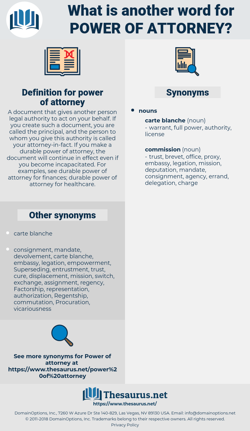 Carte Blanche Synonym Synonyms For Power Of Attorney Thesaurus
