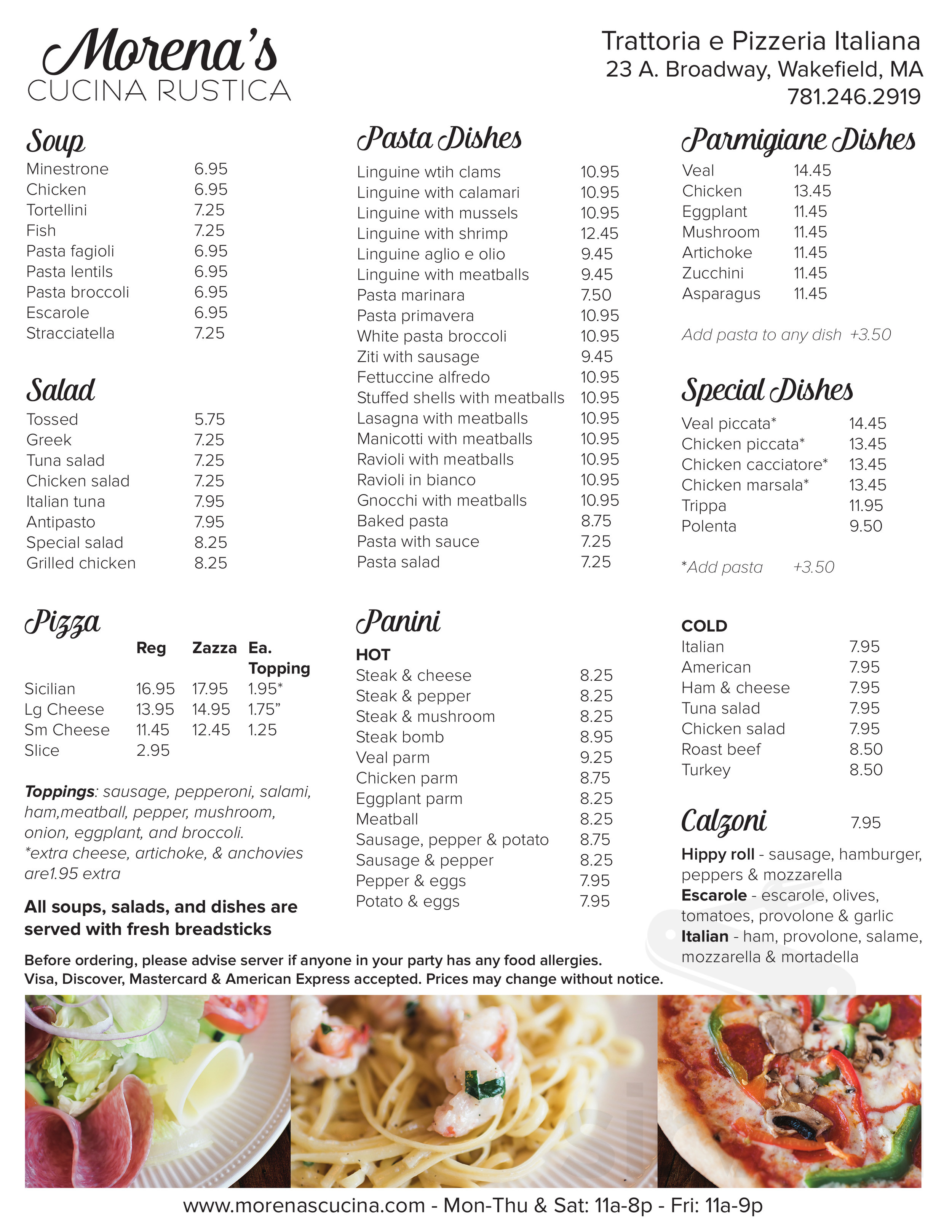 Cucina Rustica Prices Menu For Morena Cucina Rustica In Wakefield Massachusetts