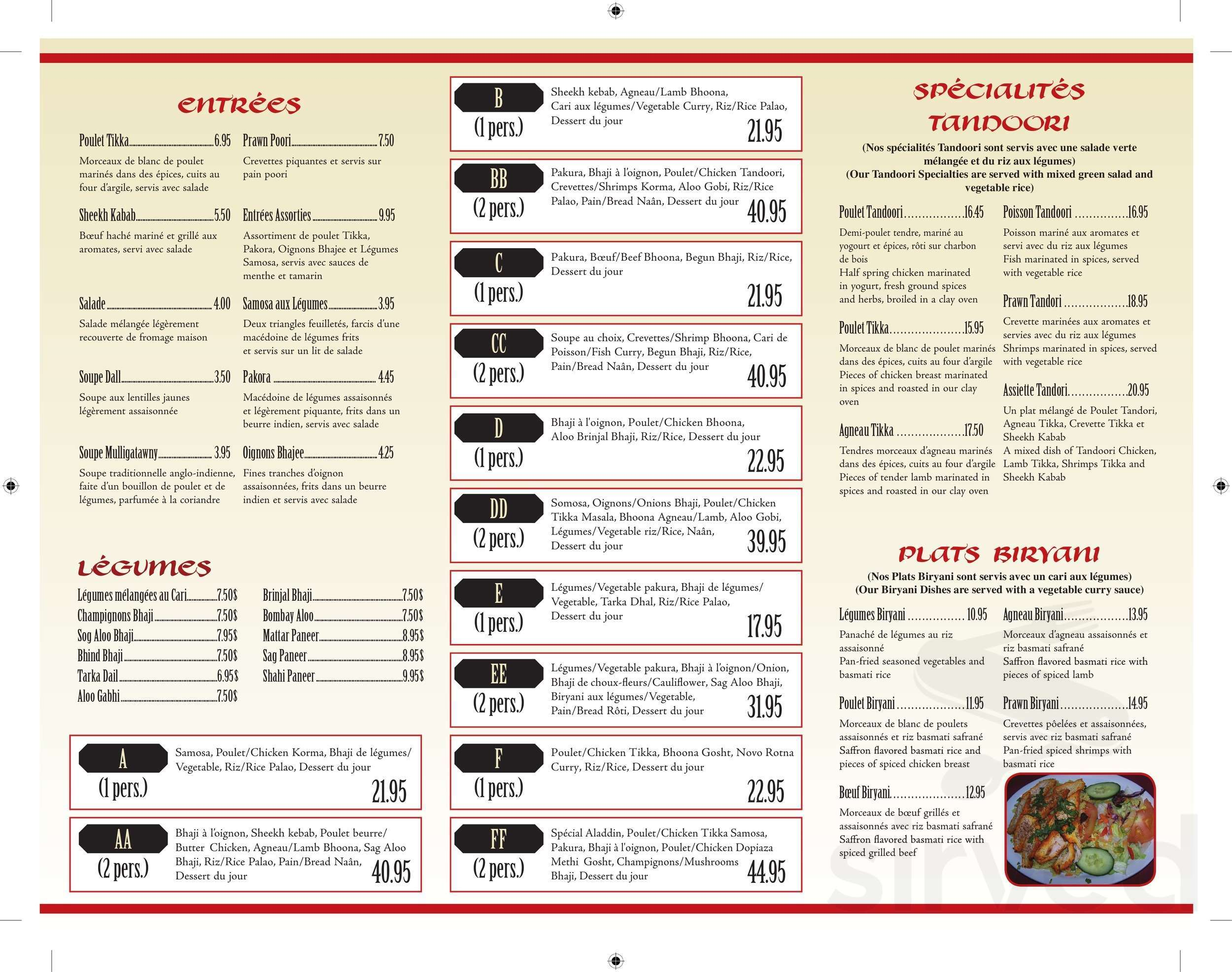 Lit 1 Pers Menu For Restaurant Aladdin In Repentigny Quebec Canada