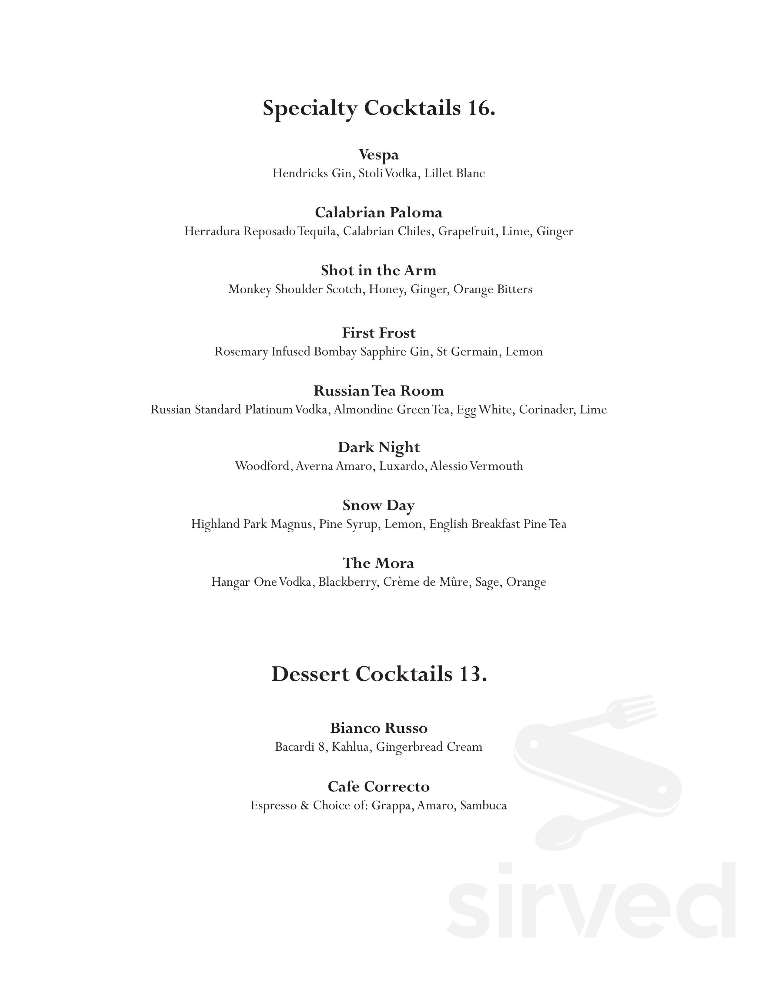 The Florentine Menu In Chicago Illinois Usa