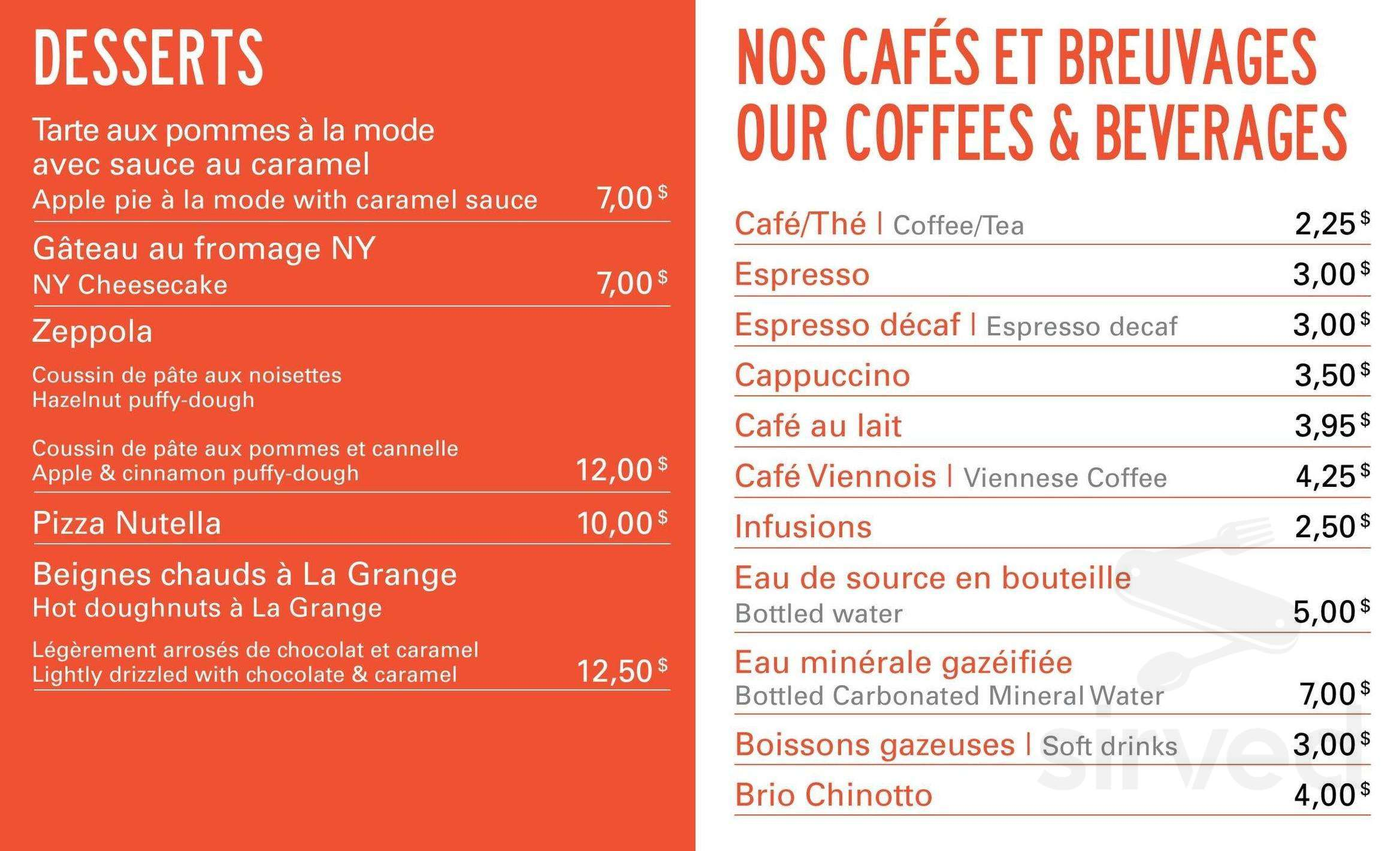 Crepe Party Lagrange Menu For La Grange Urbaine In Laval Quebec Canada