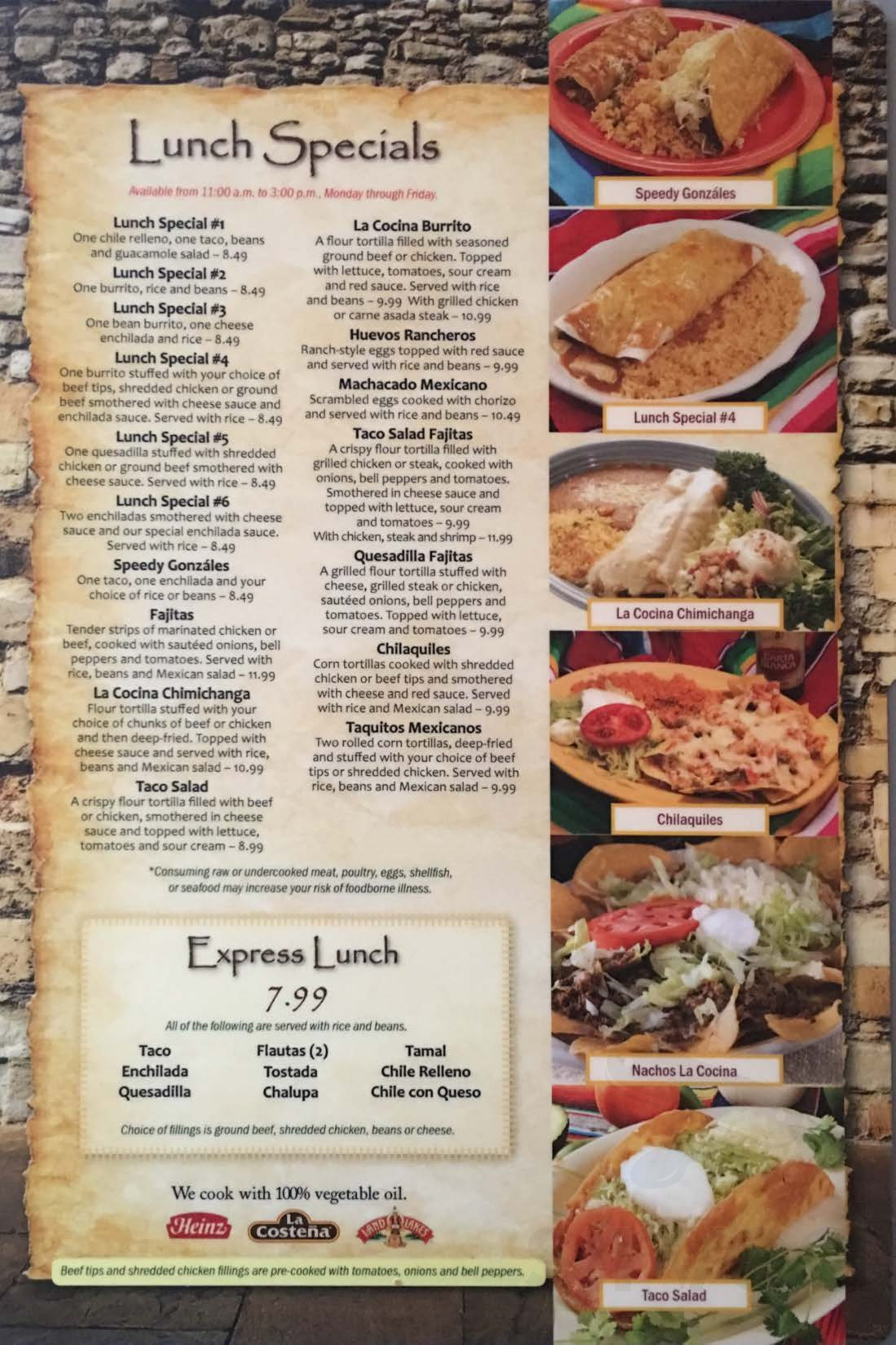 La Cocina Restaurant Menu Menu For La Cocina Mexicana In Battle Creek Michigan