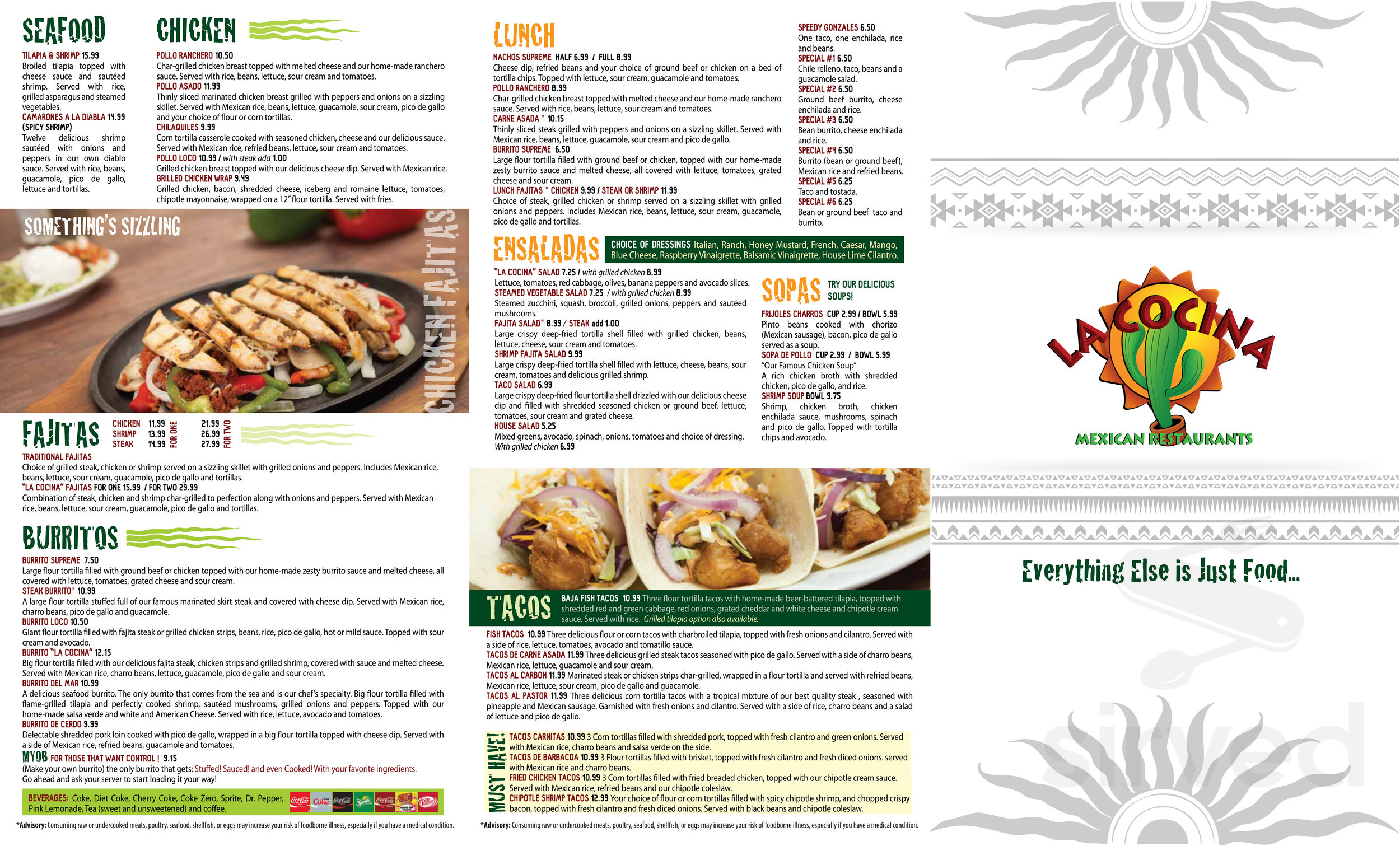 La Cocina Restaurant Menu Menu For La Cocina Mexican Restaurant In Dallas Georgia