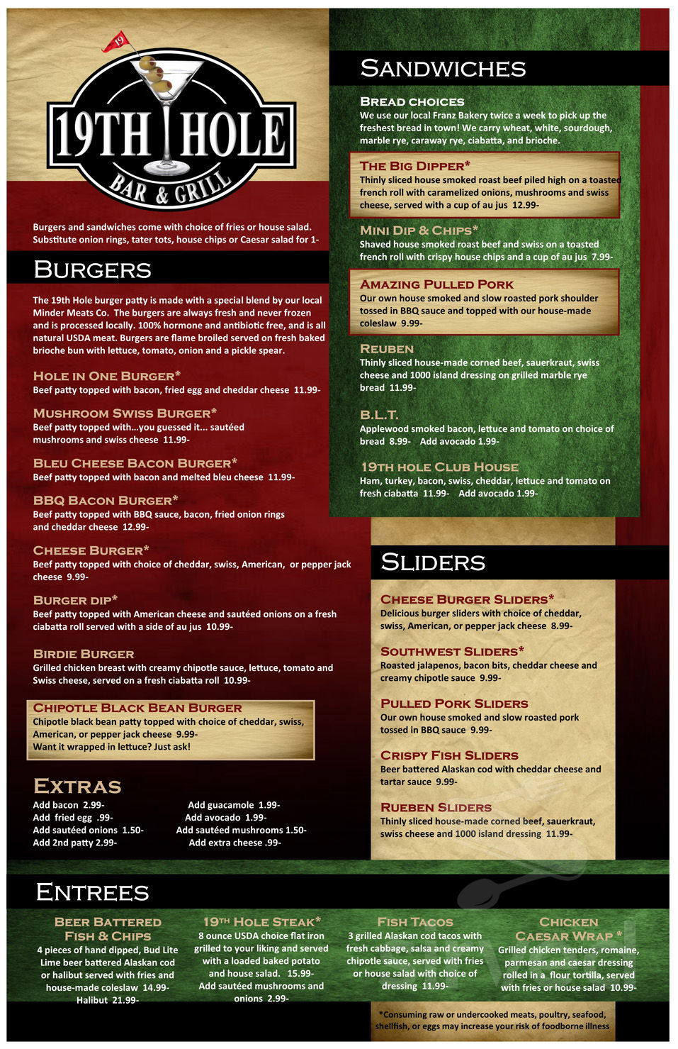 The 19th Hole Bar Grill Menu In Bremerton Washington