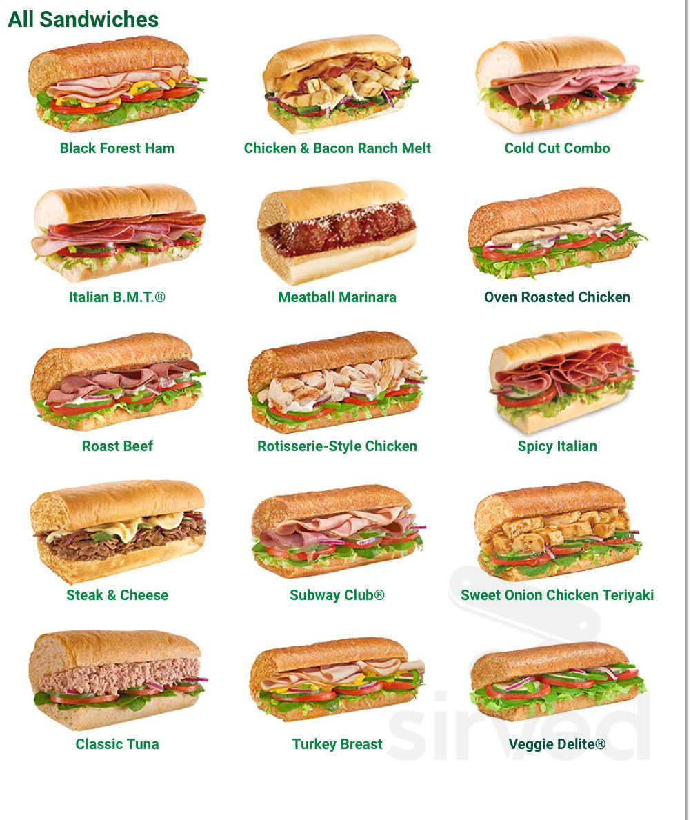 Subway Menu In Bremerton Washington Usa