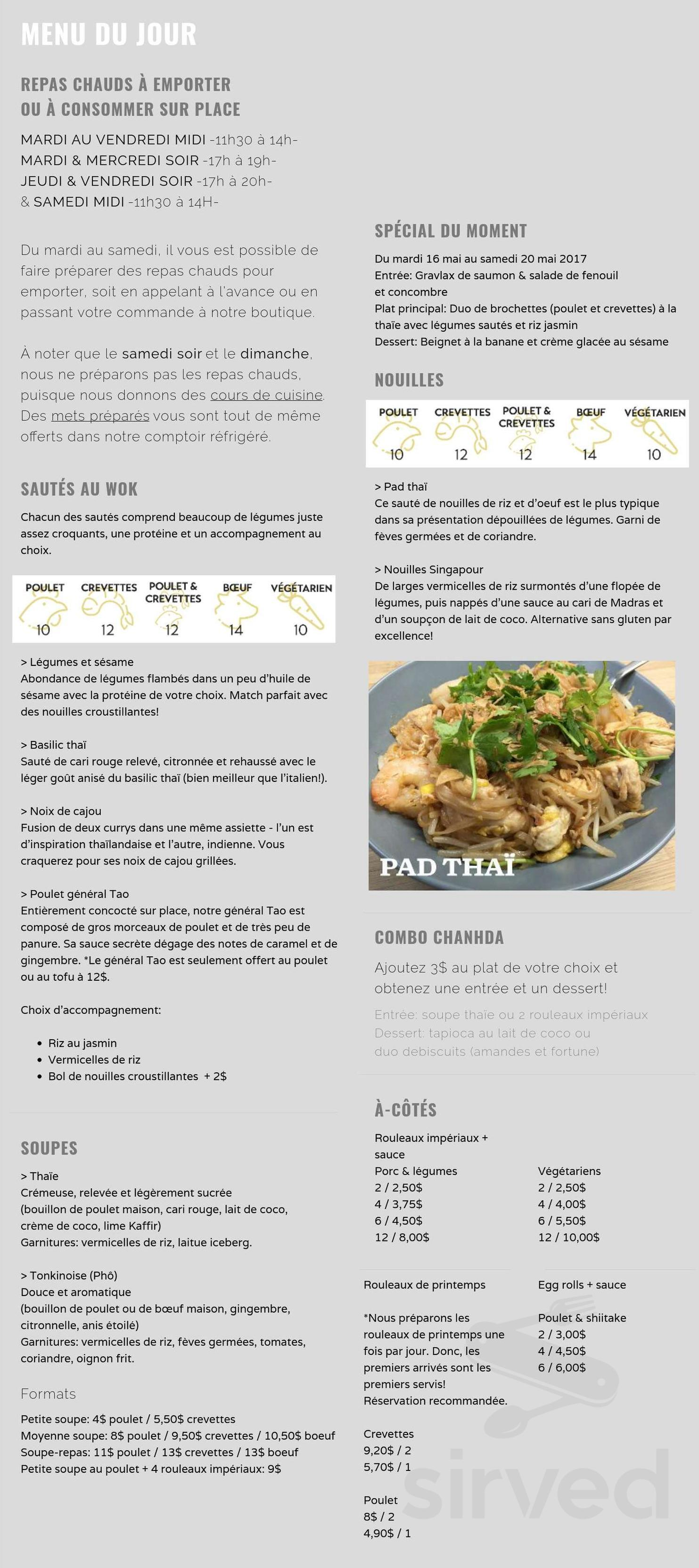 En Cuisine Avec Coco Menu For Chanhda Cuisine Asiatique In Quebec Quebec Canada