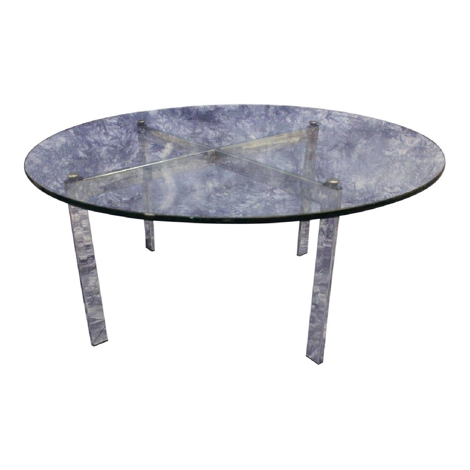 Round Glass Top Coffee Table Barcelona Mid Century Modern Round Glass Top Coffee Table