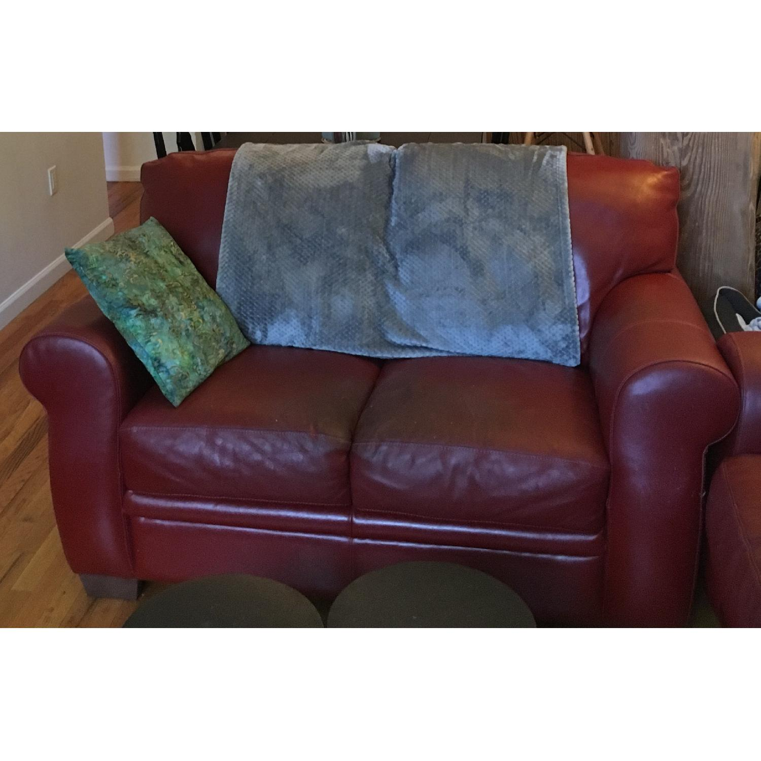 Macy S Natuzzi Red Leather 2 Seater Sofa Aptdeco