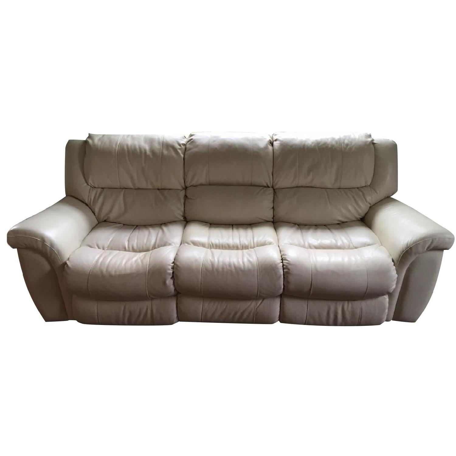 Value City White Leather Power Recliner Sofa Chair Aptdeco