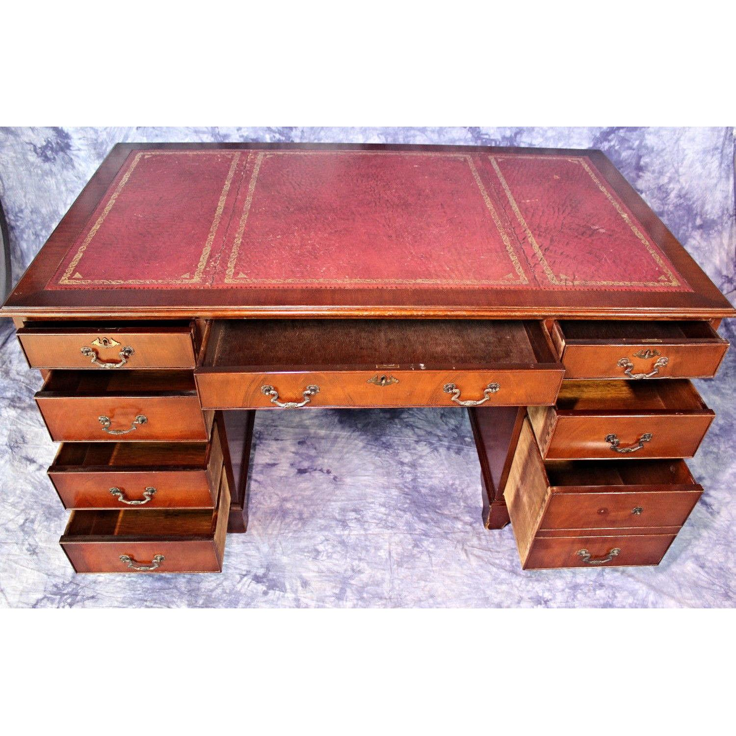 Mahogany Office Desk Antique English Mahogany Leather Top Office Desk