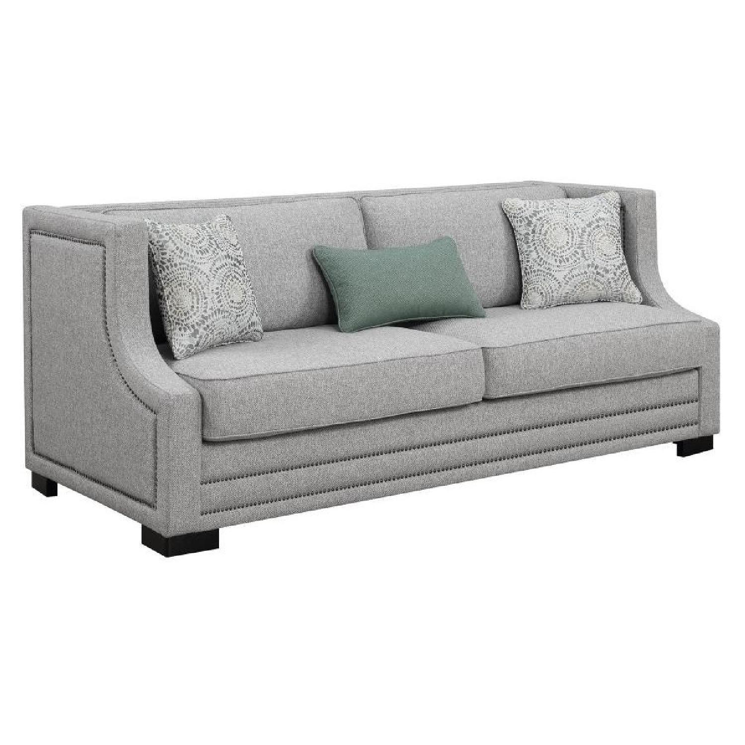 Square Sofa Light Grey Fabric Sofa W Square Frame Sloping Arms