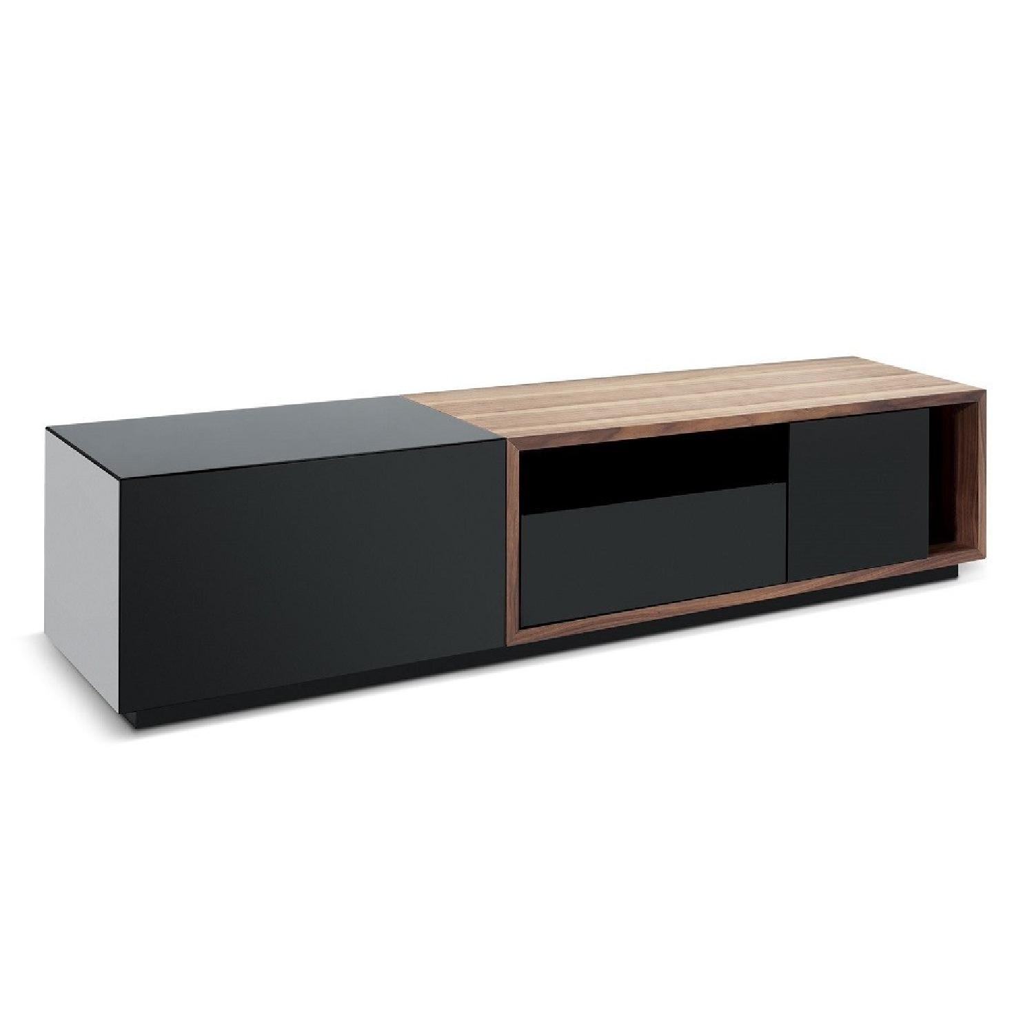 Tv Sideboard Modern Modern Tv Stand In Black Lacquer Walnut Finish