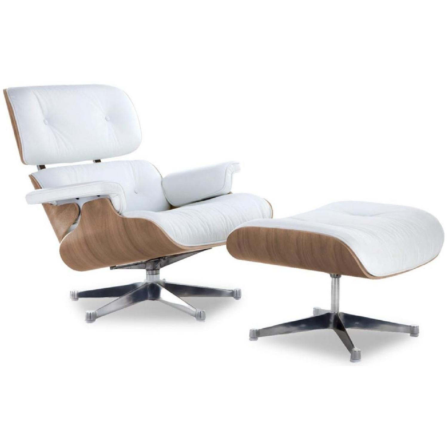 Eames Lounge Sessel White Italian Leather Eames Lounge Chair Replica Ottoman