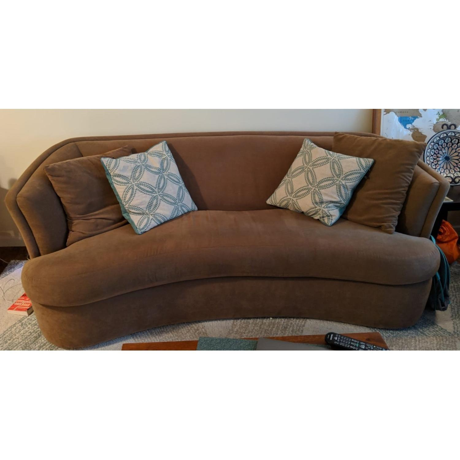 Curved Sofa Tan Suede Curved Sofa