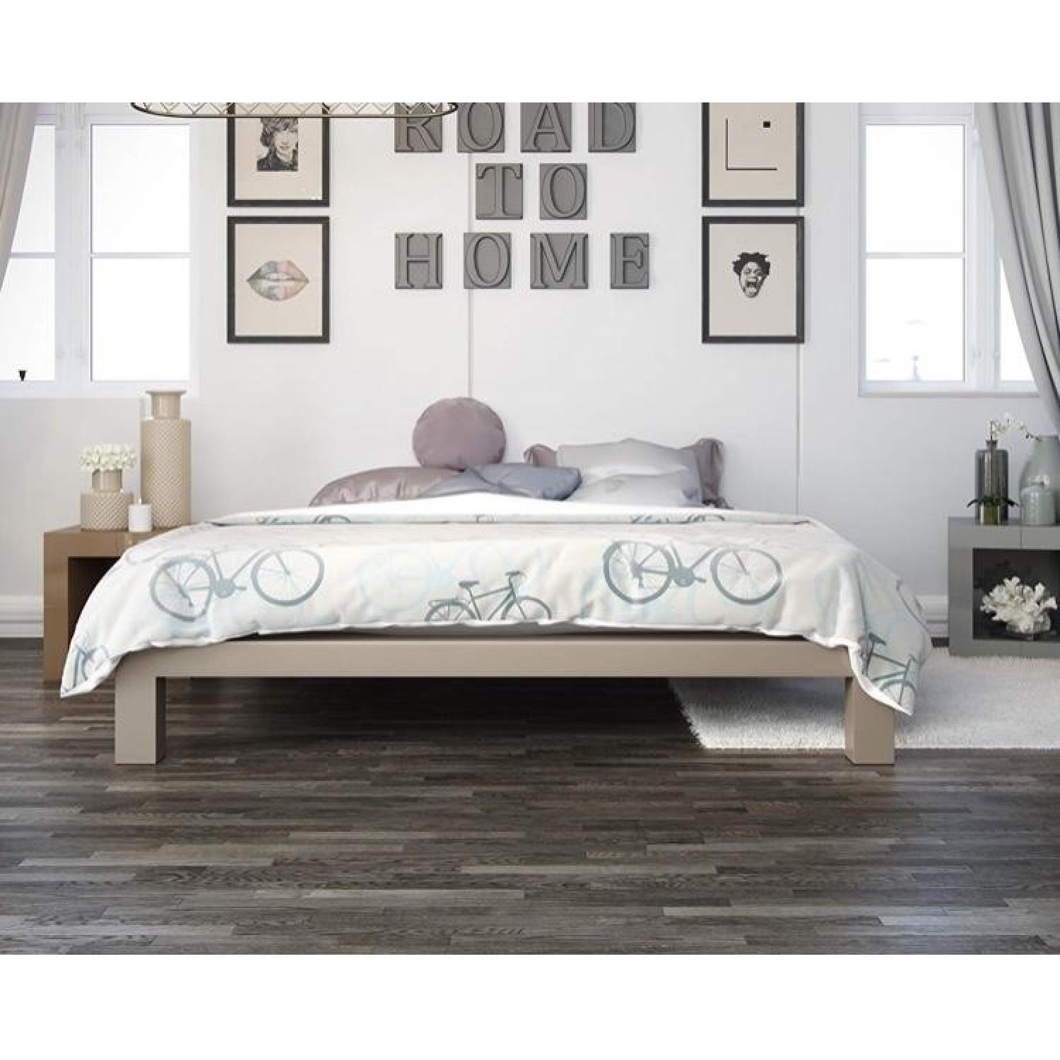 Queen Bed Frame Metal Platform Queen Bed Frame In Champagne