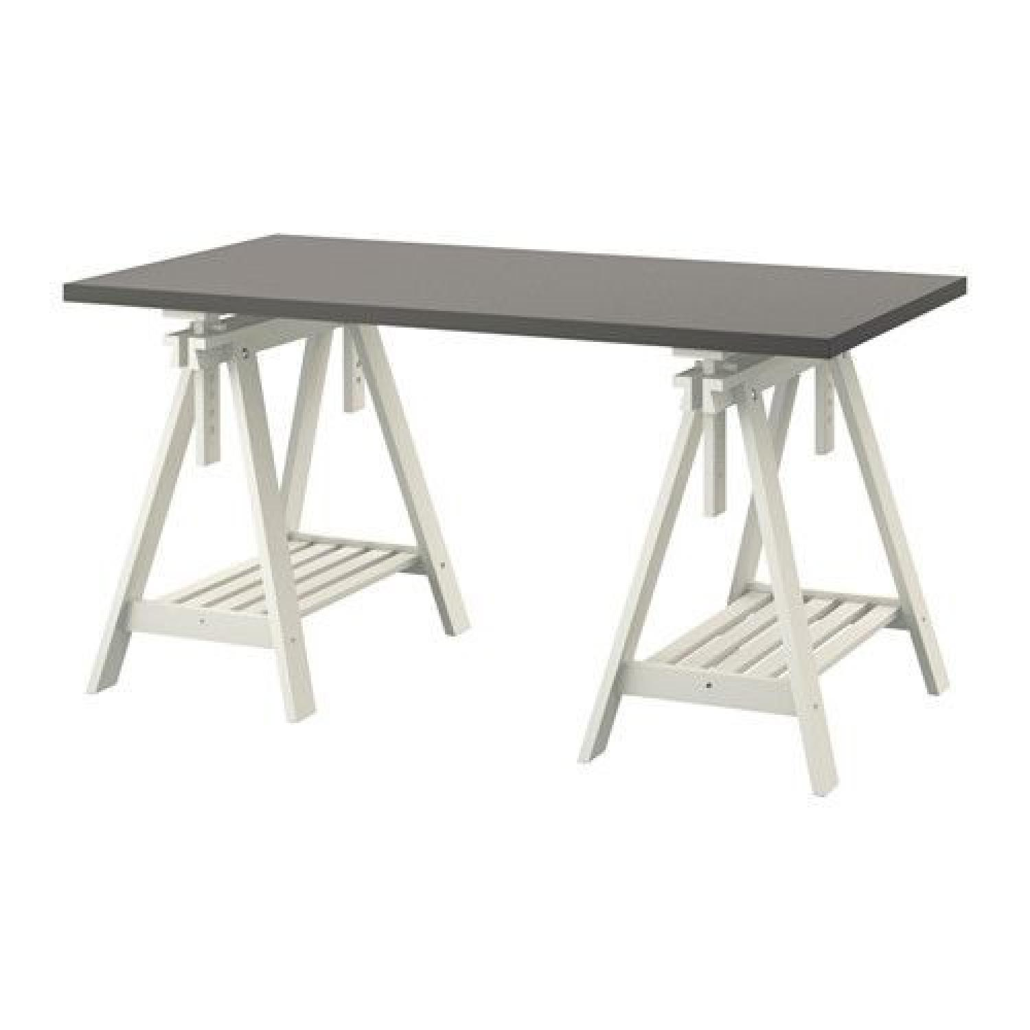 Ikea Dining Table Ikea Grey Top Dining Table W Adjustable Trestle Legs