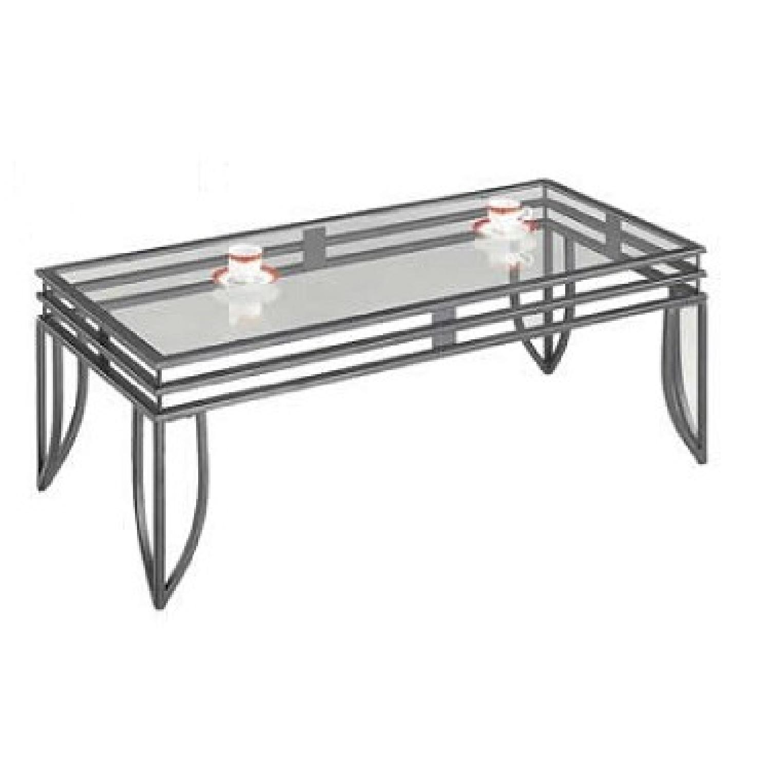 Metal Glass End Tables Glass Top W Metal Finish Coffee Table 2 End Tables