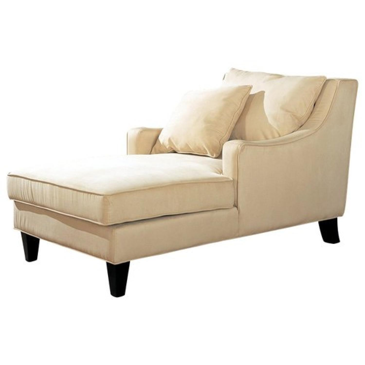 Chaiselongue Modern Modern Chaise Lounge In Beige Microfiber Fabric