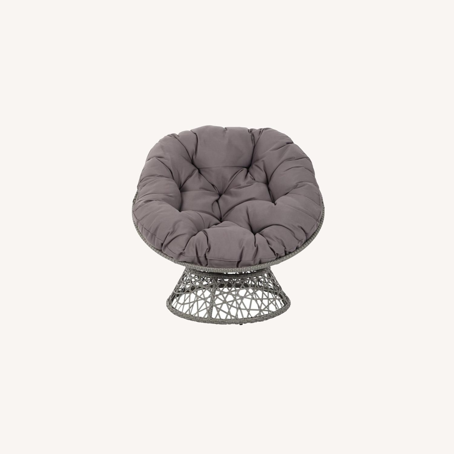 Modern Papasan Swivel Accent Chair In Dark Grey Aptdeco