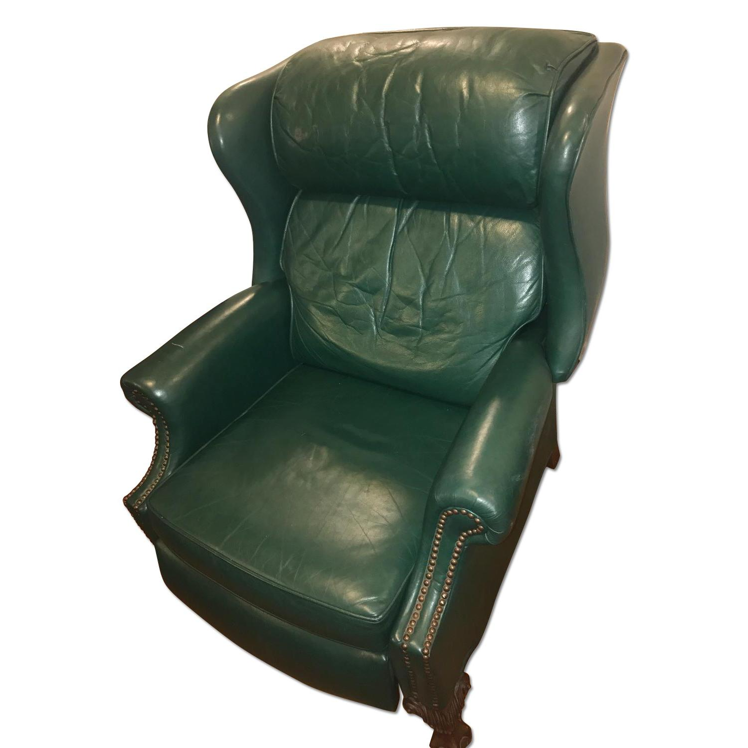 Bradington Young Green Leather Club Chair Recliner Aptdeco