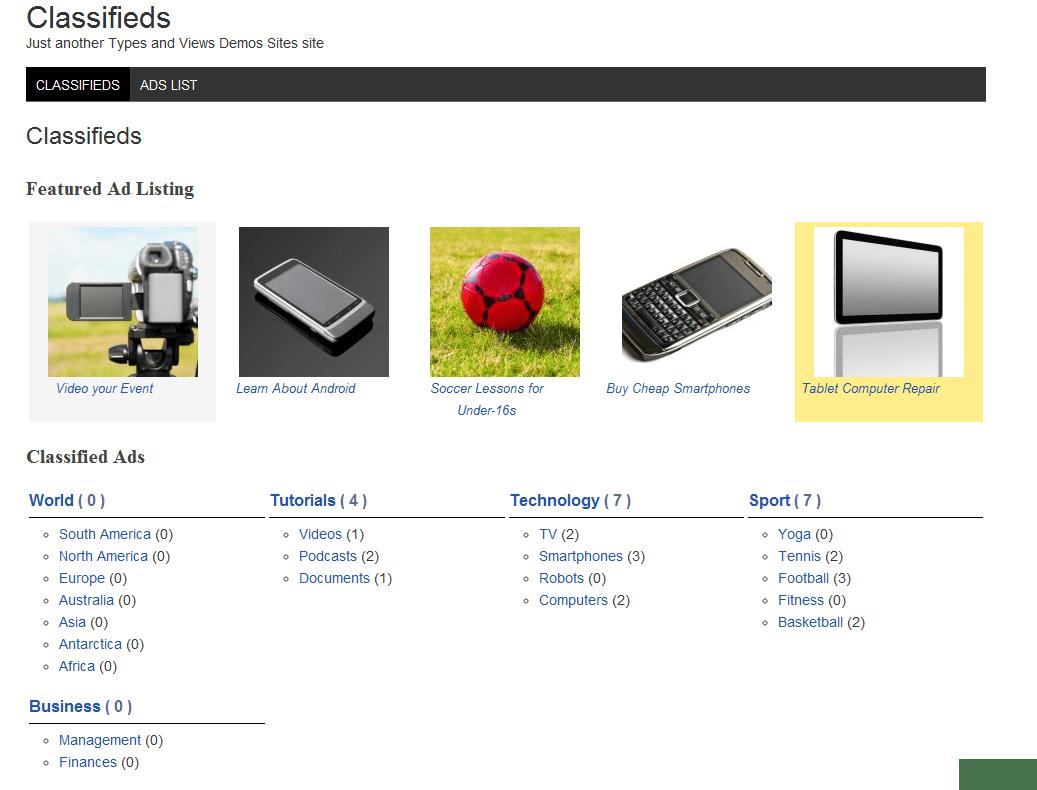 Una Copia De Pantalla De La Homepage Del Tema Clasificados