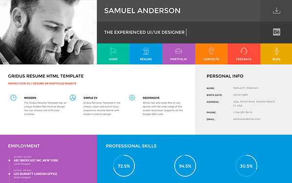 simple html cv template based on bootstrap