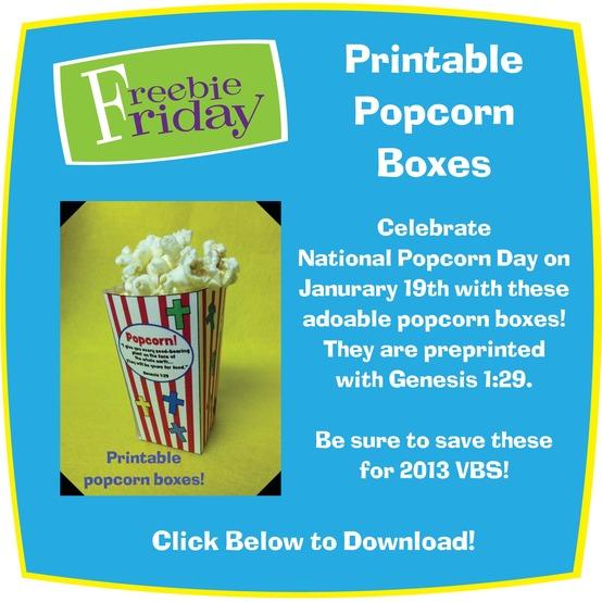 Freebie Fridays Are Back - Printable Popcorn Box