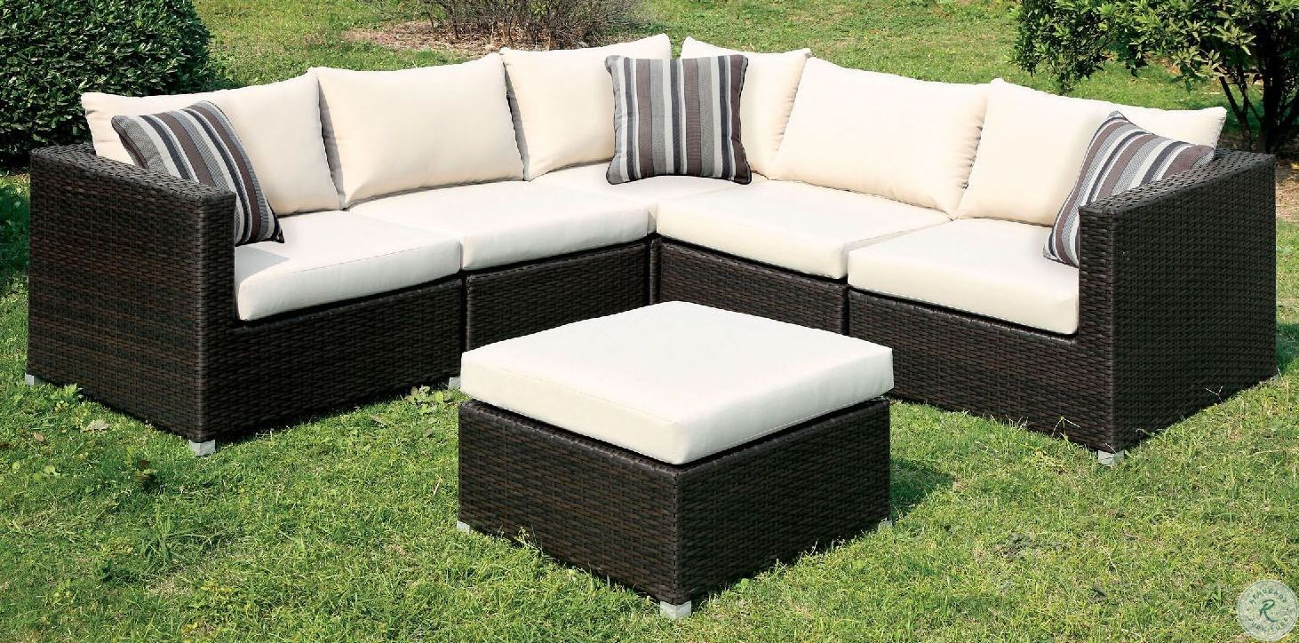 Davina Brown And Beige Outdoor Patio Sectional With Ottoman Cm - Garden Furniture Clearance Leeds